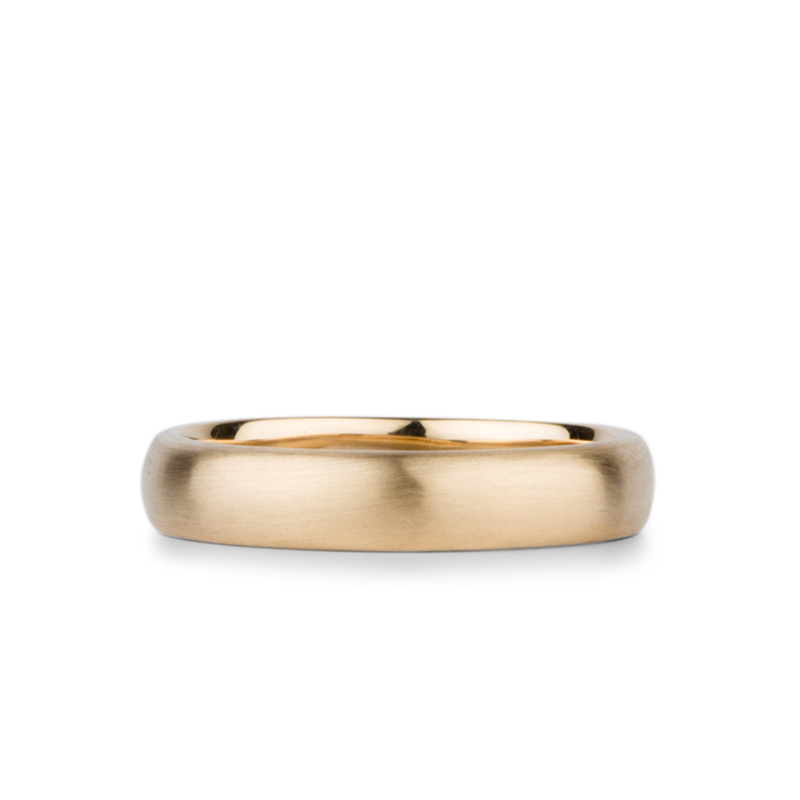 Yellow Gold Diablo Half Round Brushed Band 4mm wide by Corey Egan
