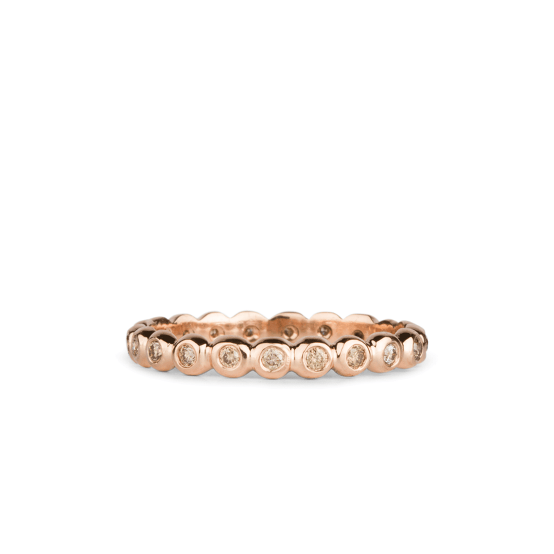 Champagne Diamond Droplet Band in Rose Gold by Corey Egan