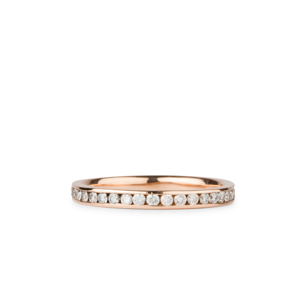 Moraine White Diamond Channel Set Half Eternity Band in Rose Gold | Corey Egan