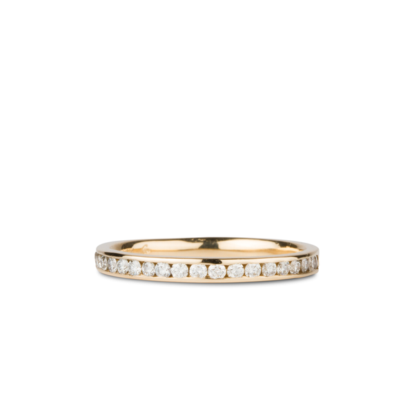 Moraine White Diamond Channel Set Half Eternity Band in Yellow Gold | Corey Egan