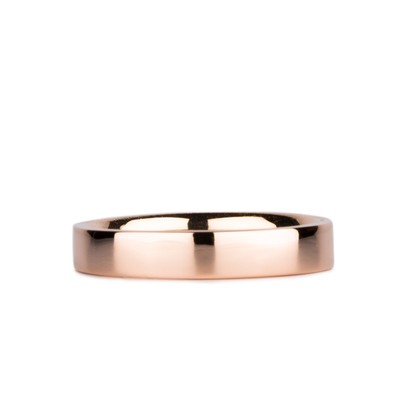 4mm 14k Rose Gold Flat Polished Muir Band by Corey Egan