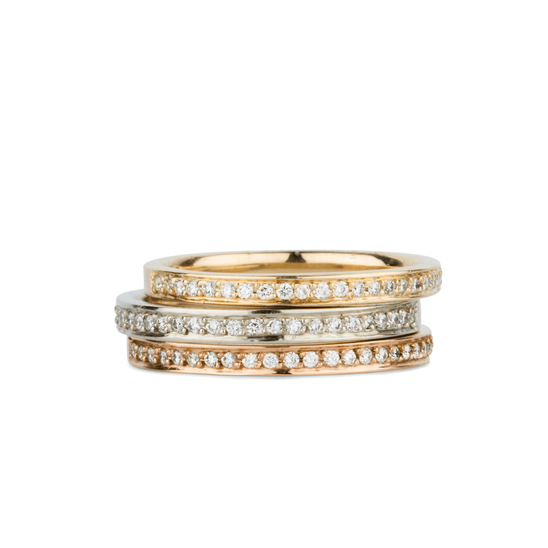 Paria Small White Diamond Pave Set Half Eternity Bands in Yellow, White, and Rose Gold | Corey Egan