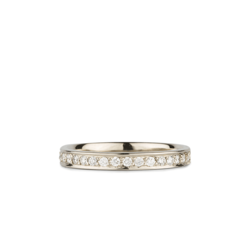 Paria Large White Diamond Pave Set Half Eternity Band in White Gold | Corey Egan