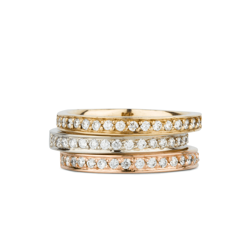 Paria Large White Diamond Pave Set Half Eternity Bands in Yellow, White and Rose Gold by Corey Egan