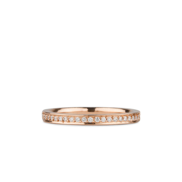 Paria Small White Diamond Pave Set Half Eternity Band Rose Gold | Corey Egan