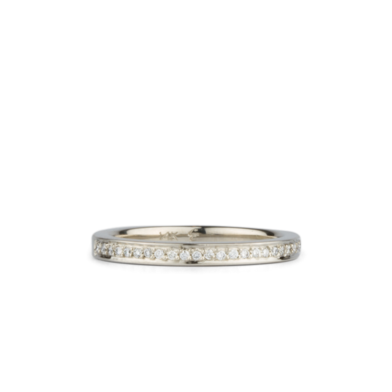 Paria Small White Diamond Pave Set Half Eternity Band White Gold | Corey Egan