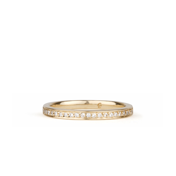 Paria Small White Diamond Pave Set Half Eternity Band Yellow Gold | Corey Egan