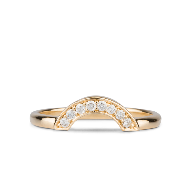 Pavé Medium Arched Fitted Band by Corey Egan