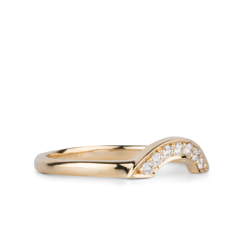 Small White Diamond Pavé Arch Band