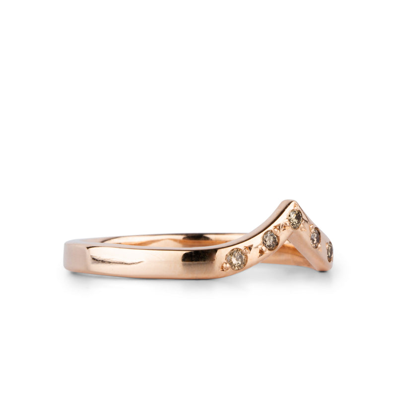 Champagne Diamond and Rose Gold Pinnacles Band by Corey Egan