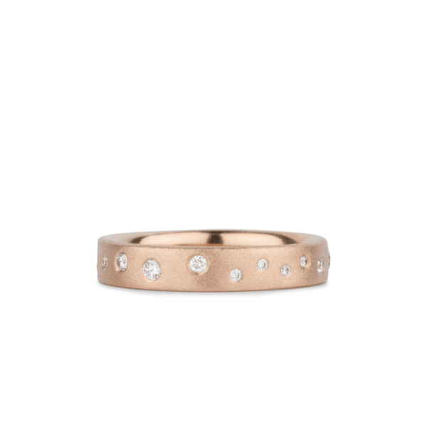 Tioga Scattered White Diamond Band in Rose Gold | Corey Egan