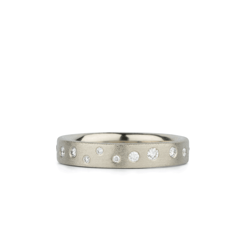 Tioga Scattered White Diamond Band in White Gold | Corey Egan