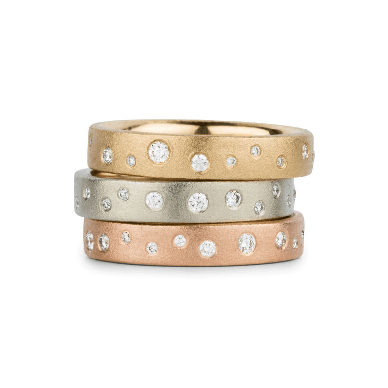 Tioga Scattered White Diamond Bands in Yellow, White, and Rose Gold | Corey Egan