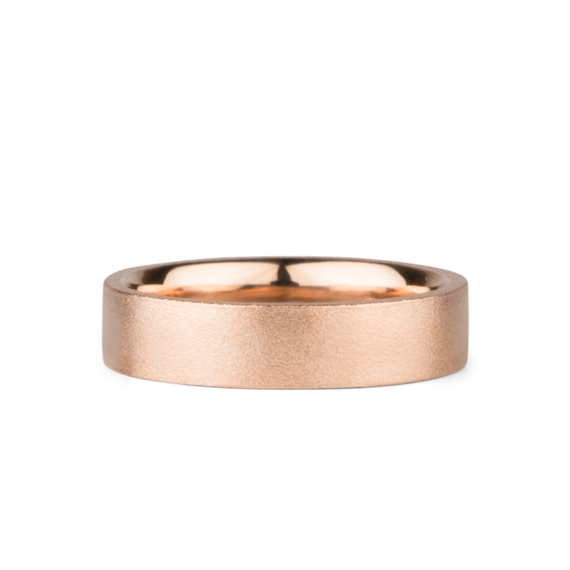 Yosemite Matte Textured 14K Rose Gold 5mm Flat Band by Corey Egan
