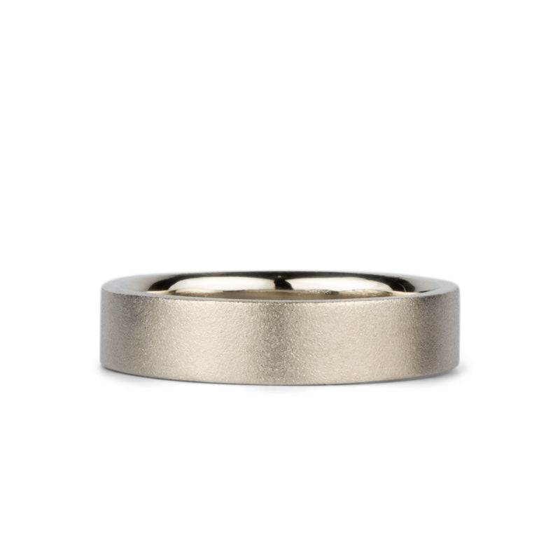 Yosemite Matte Textured 14K White Gold 5mm Flat Band by Corey Egan