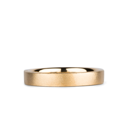 Yosemite Matte Textured 14K Yellow Gold 4mm Flat Band by Corey Egan