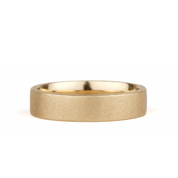 Yosemite Matte Textured 14K Yellow Gold 5mm Flat Band by Corey Egan
