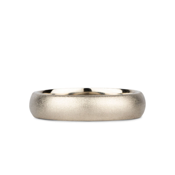 Yosemite Half Round Band 14k White Gold 4mm wide by Corey Egan