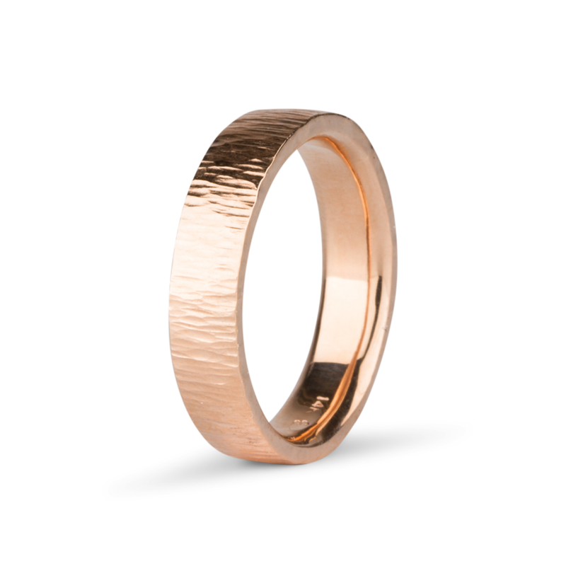 Zion Hammered 14k Rose Gold Band by Corey Egan