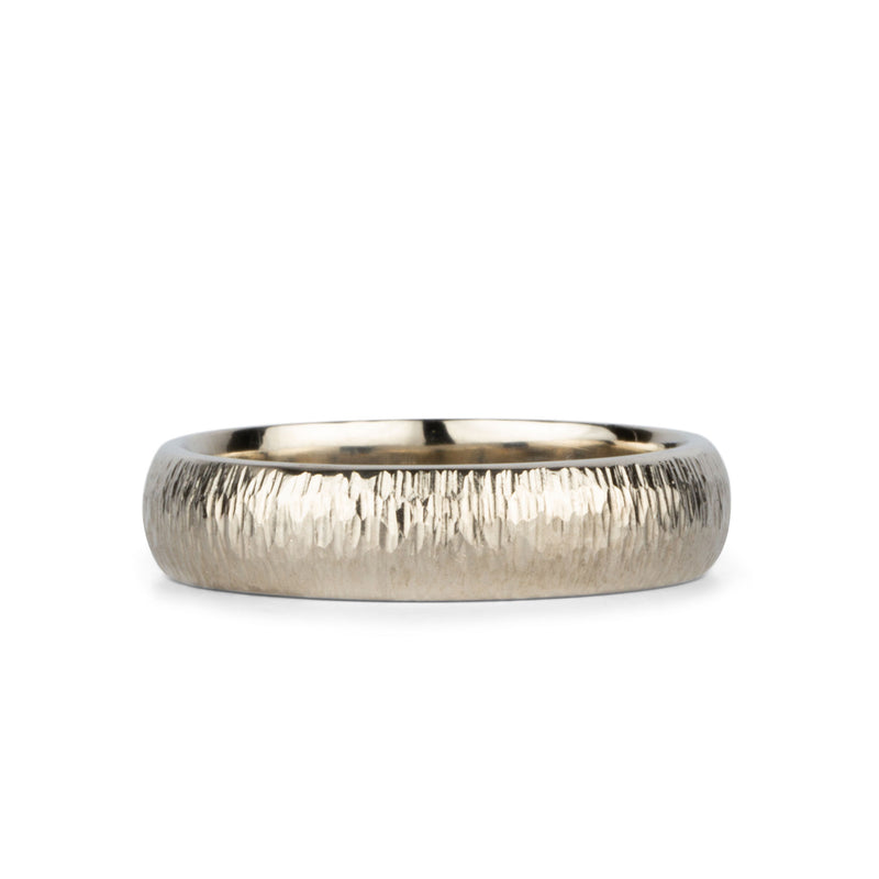 5mm Half Round Vertical Hammered Zion Band in 14k White Gold by Corey Egan