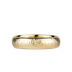 5mm Half Round Vertical Hammered Zion Band in 14k Yellow Gold by Corey Egan
