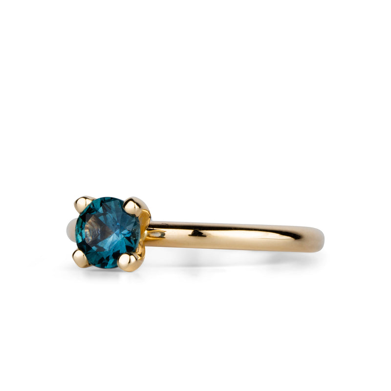 Dark Teal Montana Sapphire 4-Prong Stackable Ring by Corey Egan