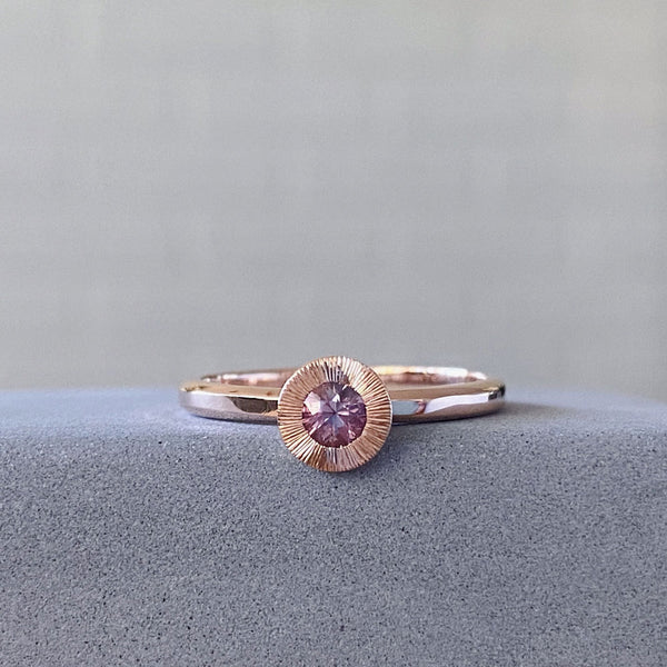 Small Aurora Pink Sapphire Ring in 14k Rose Gold