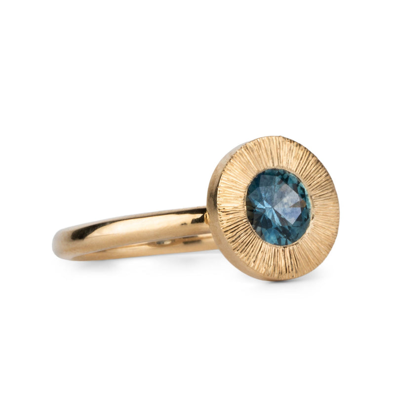 Aurora Ring with Teal Montana Sapphire in Yellow Gold by Corey Egan