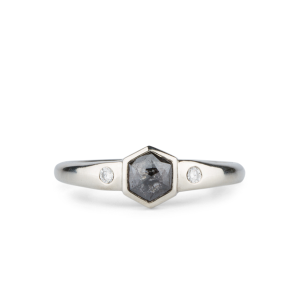 Ettison Hexagon Salt and Pepper Rose Cut Diamond Ring by Corey Egan