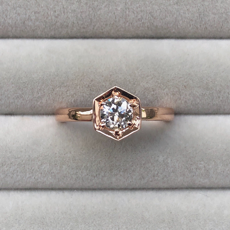 TTLB Old European Cut Diamond Issa Ring in Rose Gold by Corey Egan