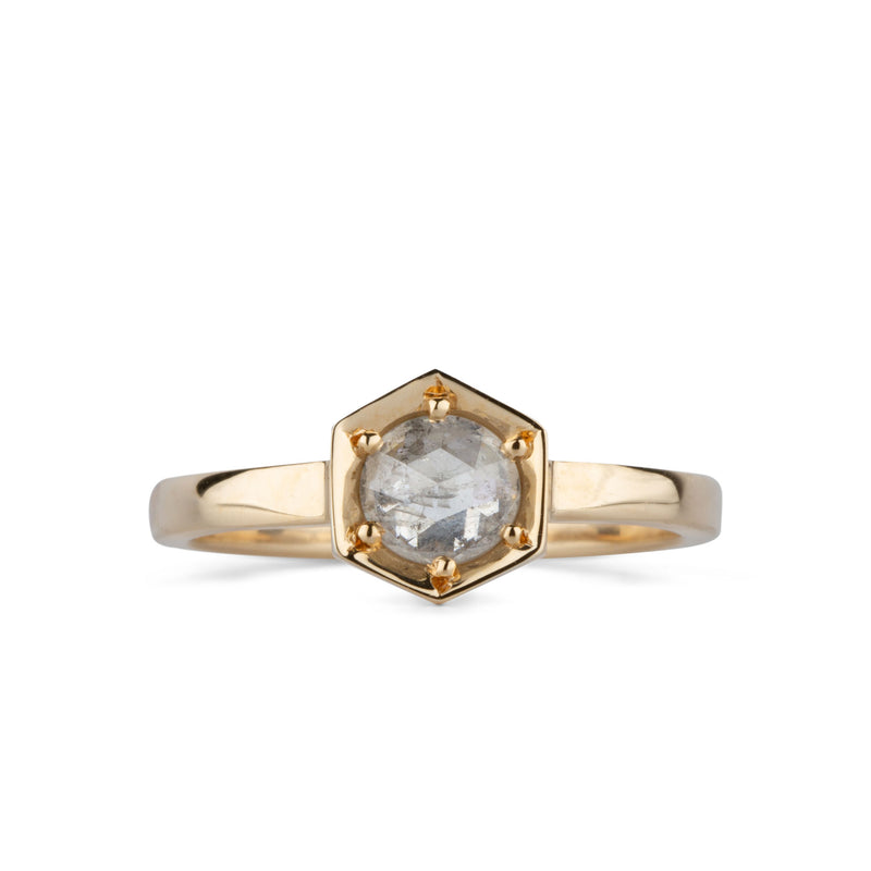 Lofted Issa Ring with Icy Grey Rose Cut Diamond