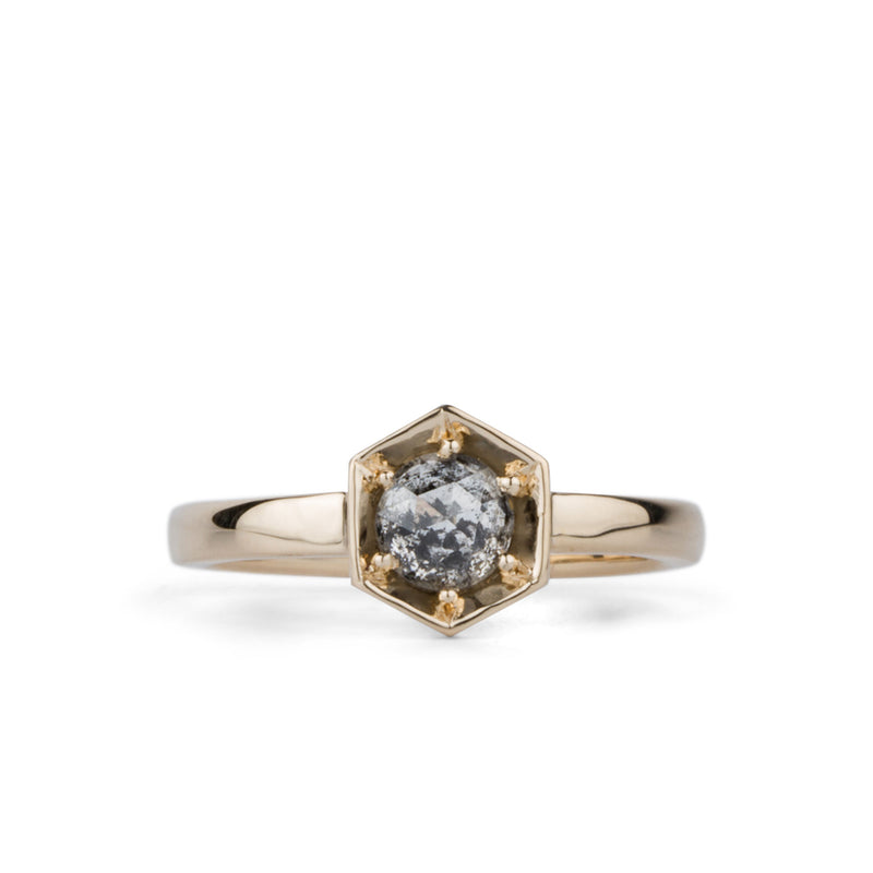 Lofted Issa Ring with Salt and Pepper Rose Cut Diamond by Corey Egan