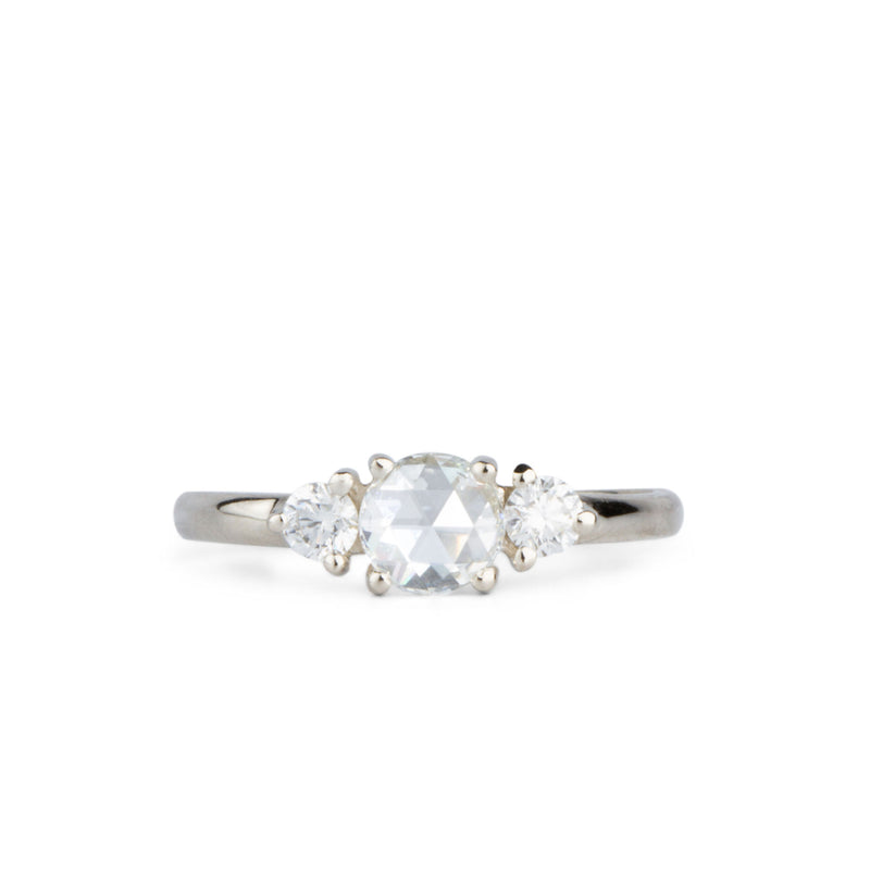 Rose Cut White Diamond Lenox Ring in White Gold by Corey Egan