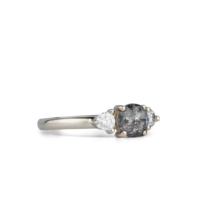 Salt and Pepper Diamond Lenox Ring in White Gold by Corey Egan