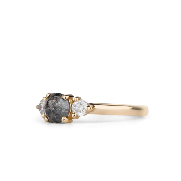 Salt and Pepper Diamond Lenox Ring in Yellow Gold by Corey Egan
