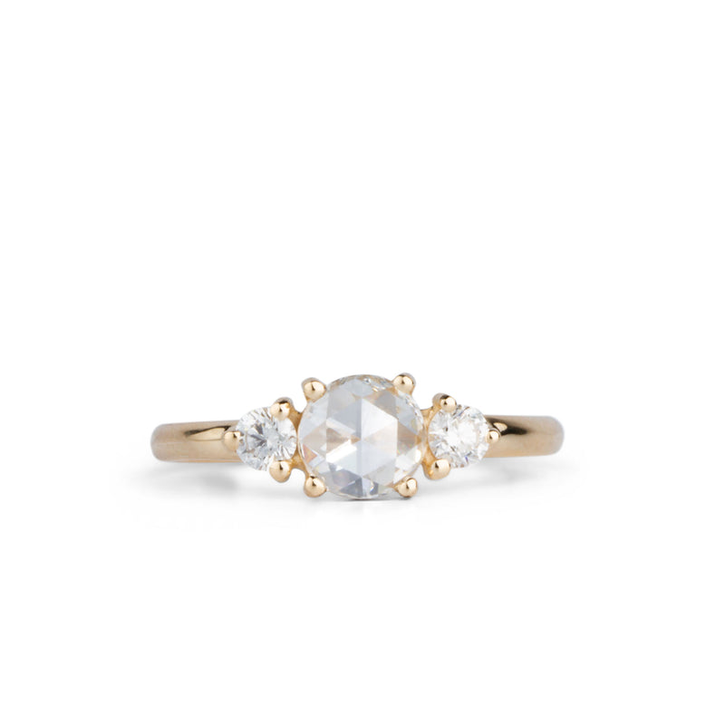 Rose Cut White Diamond Lenox Ring in Yellow Gold by Corey Egan