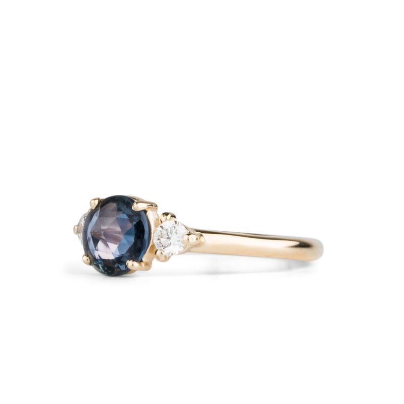 Lenox Blue Rose Cut Sapphire Ring in Yellow Gold by Corey Egan