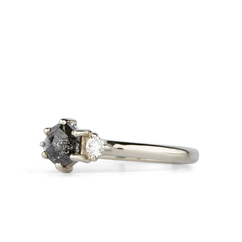 Hexagon Salt and Pepper Rose Cut Diamond Lenox Ring in 14K White Gold | Corey Egan