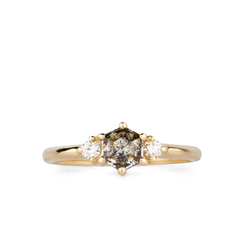 Salt and Pepper Hexagon Rose Cut Diamond Lenox Ring in 14k Yellow Gold by Corey Egan