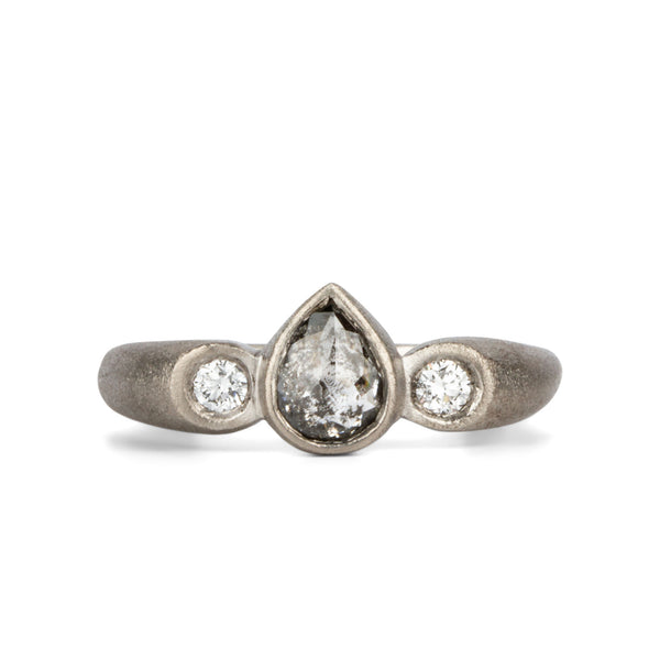 Petra Salt and Pepper Pear Rose Cut Diamond Ring in Palladium