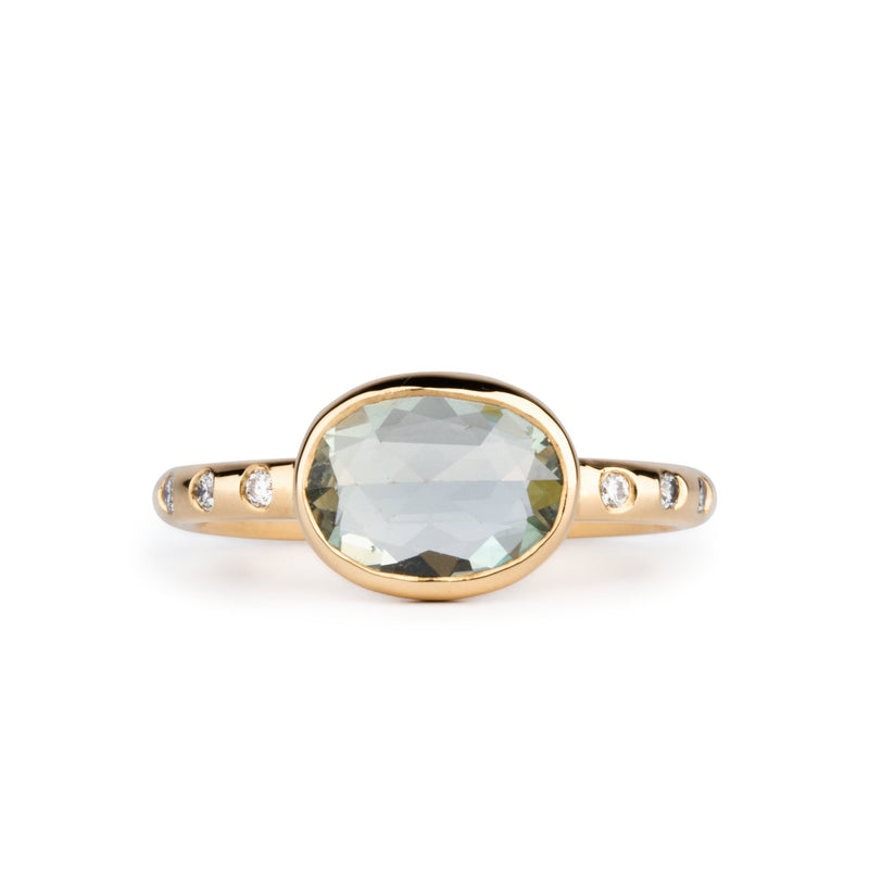 Oval Green Rose Cut Sapphire Sutro Ring in Yellow Gold by Corey Egan