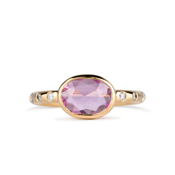 Oval Pink Rose Cut Sapphire Sutro Ring by Corey Egan