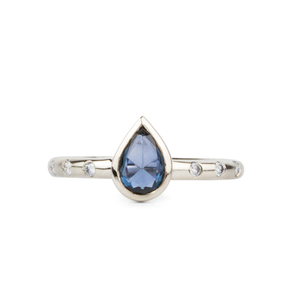 Rose Cut Blue Pear Sapphire and Diamond Sutro Ring | Corey Egan