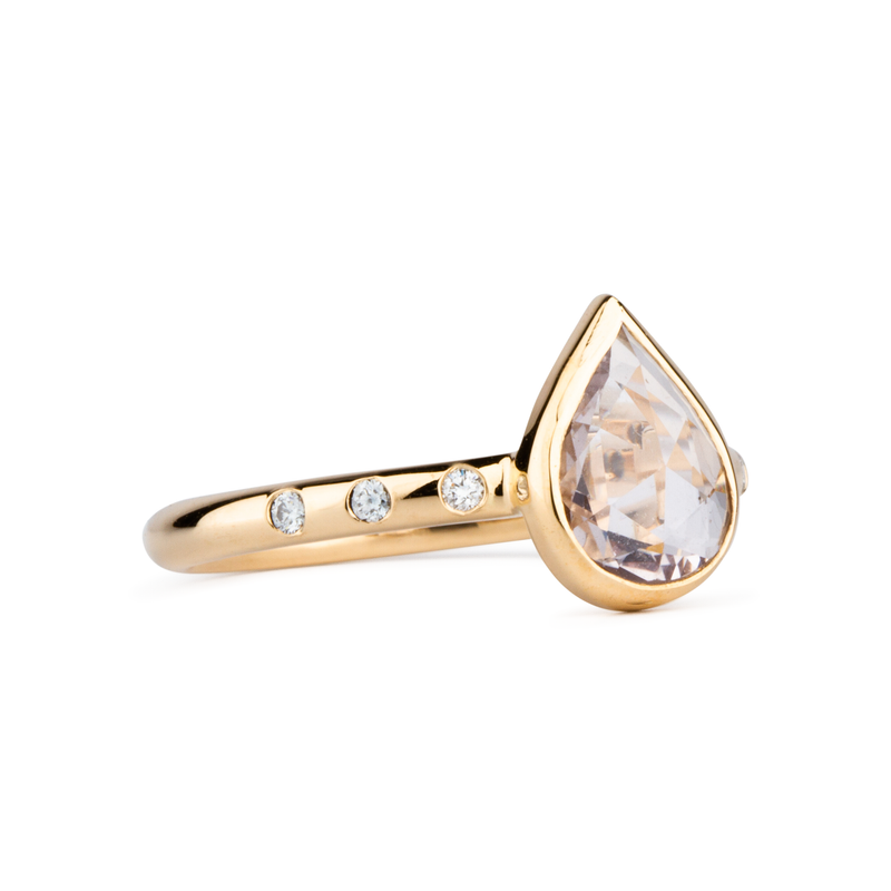 Sutro Light Pink Pear Rose Cut Sapphire Ring by Corey Egan