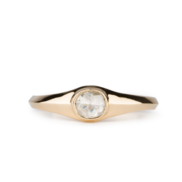 Thao Cushion Icy Rose Cut Diamond Ring in 14k Yellow Gold by Corey Egan