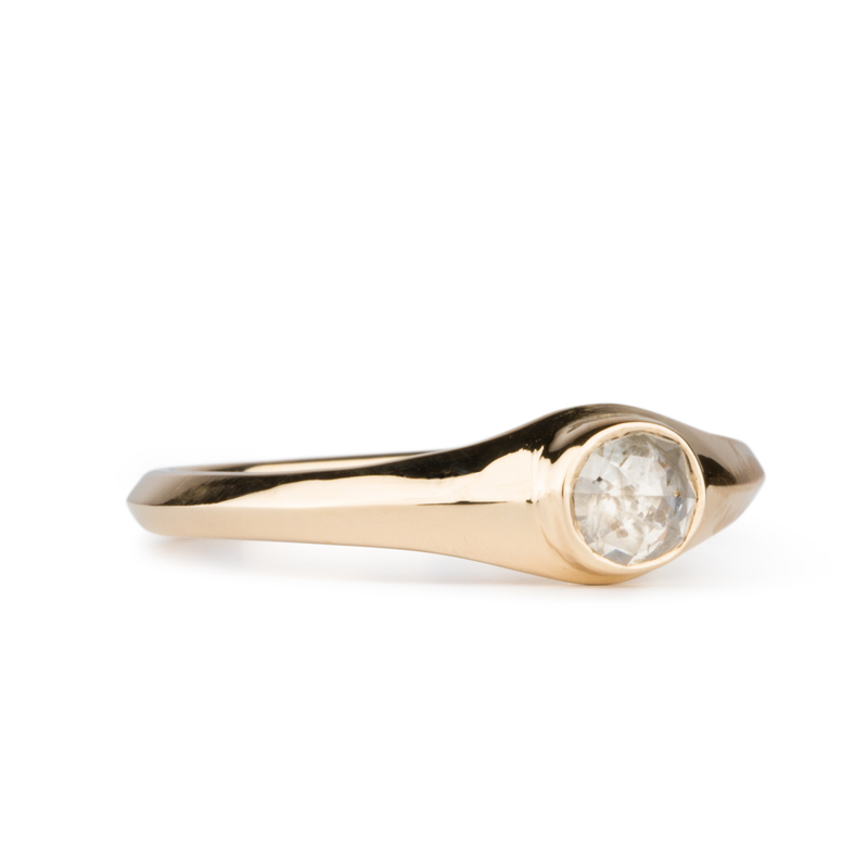 Thao Cushion Icy Rose Cut Diamond Ring in 14k Yellow Gold