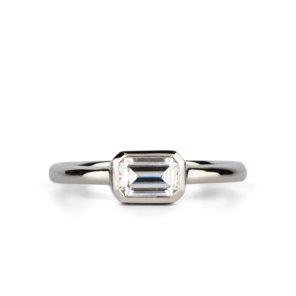 Trevi Low East-West Emerald Cut Moissanite in 14k White Gold by Corey Egan