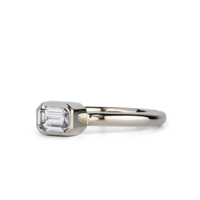 Trevi Lofted East-West Emerald Cut Moissanite in 14k White Gold by Corey Egan