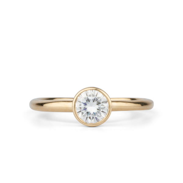 Trevi Moissanite Lofted Solitaire In 14K Yellow Gold by Corey Egan