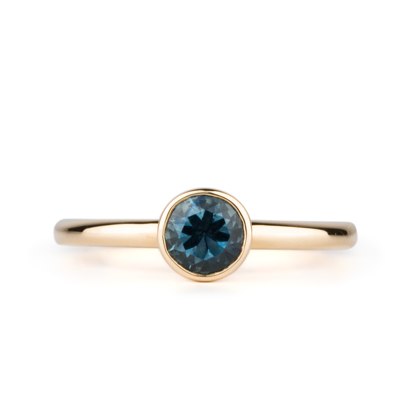 Trevi Blue-Green Montana Sapphire Solitaire in Yellow Gold by Corey Egan